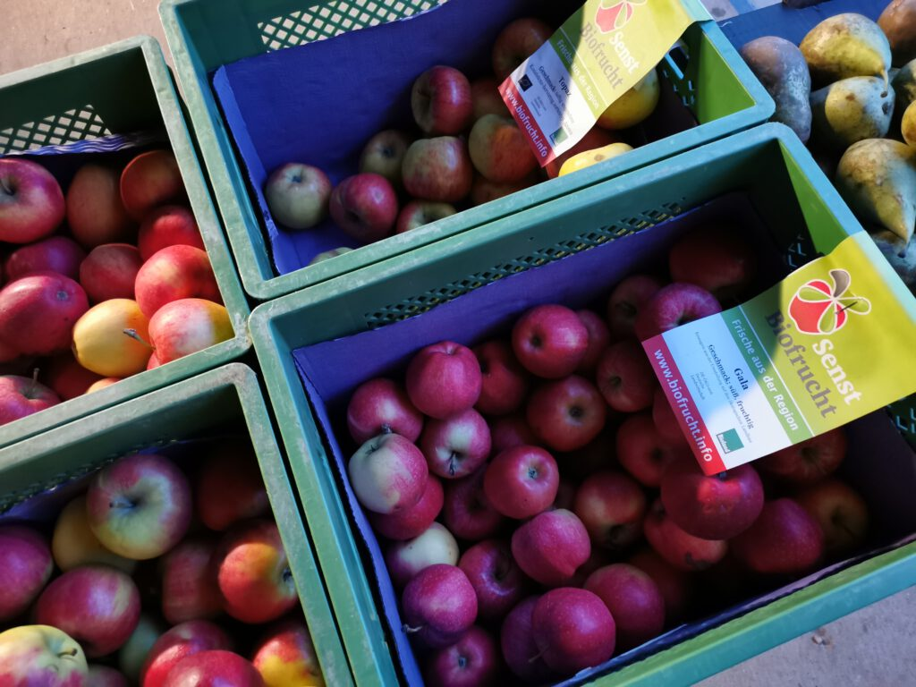 Bio-Tafeläpfel auf einem Bauernhof-Markt in der Uckermark