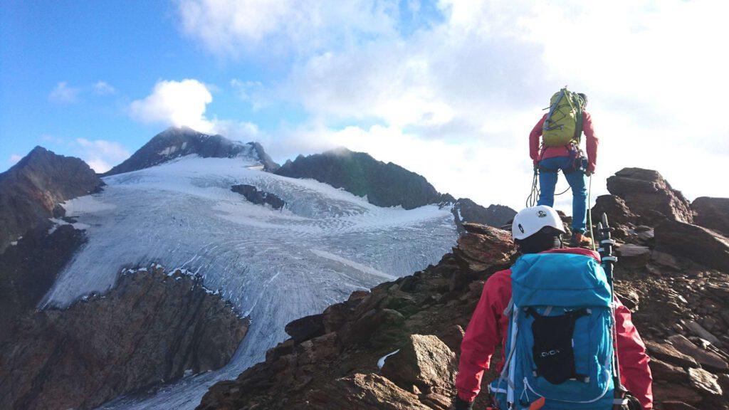 Hochtour zur Weißkugel - Aufstieg mit Sicht auf den Gletscher