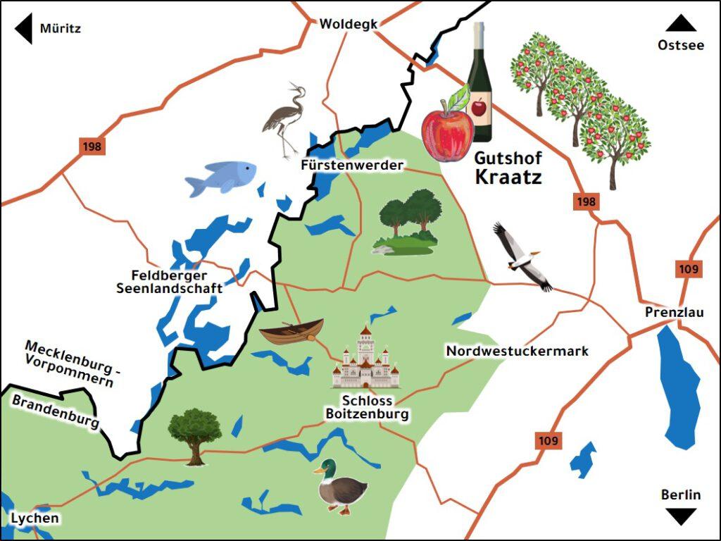 Landkarte der nordwestlichen Uckermark und Gutshof Kraatz
